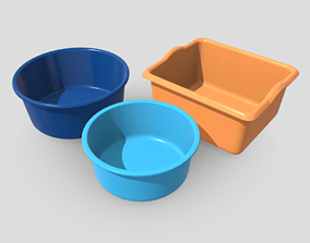 3D asset Plastic Wash Basin Pack
