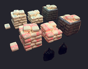 3D asset low-poly Concrete and Garbage Bags