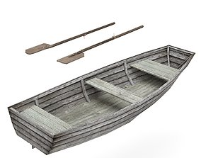 swamp Old Wooden boat Low-poly 3D model VR / AR ready