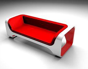 3D Red sofa moderno