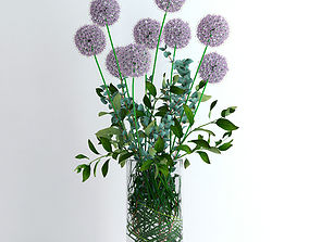 3D model Alliums and Eucalyptus plus Tangerine branches 2