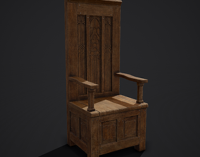 Medieval Royal Chair 3D model game-ready