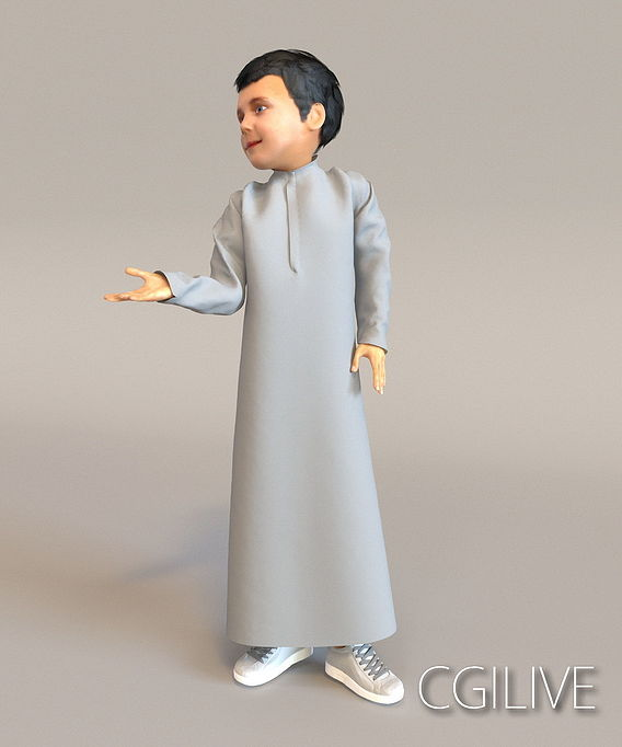 1x Arabic real cloth loop animated boy for testing