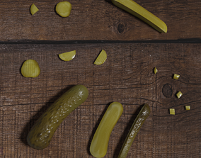 Low poly scene with pickles of cucumber 3D asset