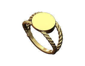Round twisted wire signet ring 3D printable model