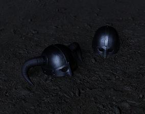 3D asset game-ready Viking Helmet LowPoly