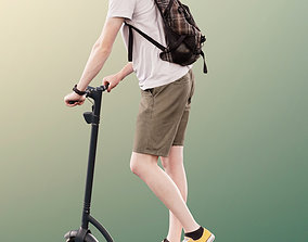 11302 Dominik - Casual Man with Bag on Scooter 3D model 1