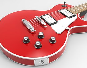 Red LP Electric Guitar 3D model