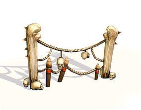 3D model Handpaint Cartoon Bone Memorial Totem Symbol
