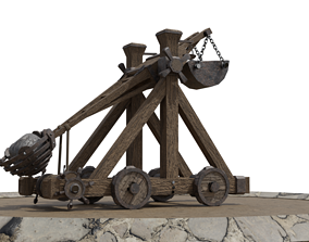 Detailed Catapult Model - Rigged and Animated animated