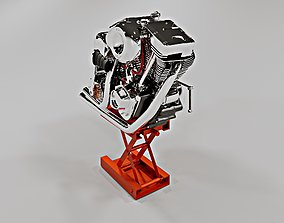 3D model Harley Davidson V-Twin Evolution engine