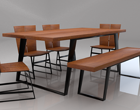 3D asset Tiber Solid Wood Six Seater Dining Set
