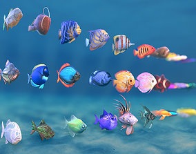 3D model Stylized Small Fishes - RAW