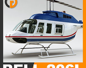 Helicopter Commercial Bell 206L with Interior 3D model