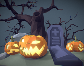Halloween Set - Faceted Style 3D model