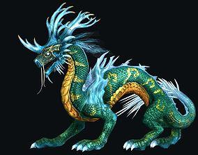 cyan dragon 3D asset game-ready
