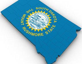 South Dakota Political Map 3D model