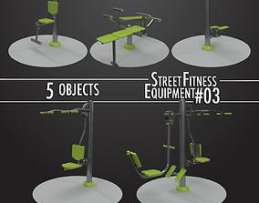 3D model Street Fitness Equipment 5objects 03