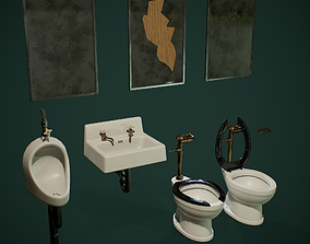 3D asset low-poly PBR Retro Public Toilet Set