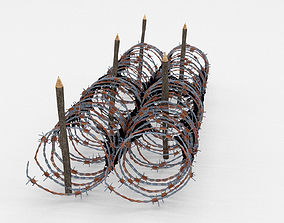 Low Poly Barb Wire Obstacle 3D asset low-poly