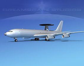 3D model Boeing E-3B AWACS Bare Metal