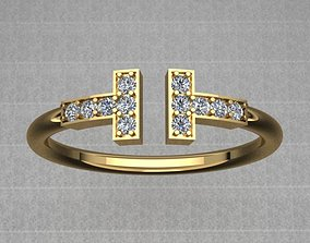 3D printable model Tiffany Style Golden Diamond Wire Ring