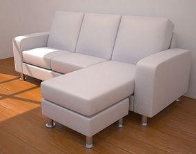 Three-seat L-shaped sofa 3D model