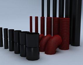 Set of mounting plastic tubes 3D model