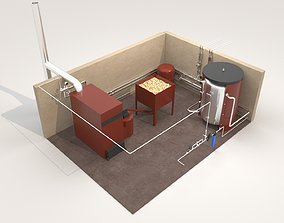 3D model Industrial Boiler Room on wood pellets