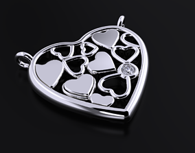 Beautiful pendant with heart and diamond 3D print model
