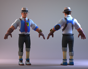 3D model Cartoon cowboy boy Sheriff Youth man