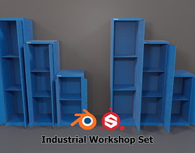 Industrial Workshop Narrow Basic Cabinets Solid 3D model