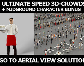 3d crowds and midground Romance with Champagne a Waiter
