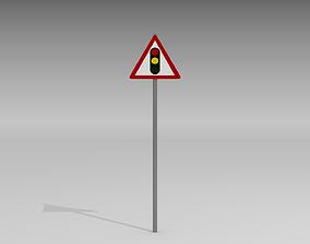 3D model Signal ahead sign