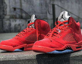 Air Jordan 5 Red Suede 3D model