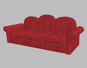 old red sofa 3D asset