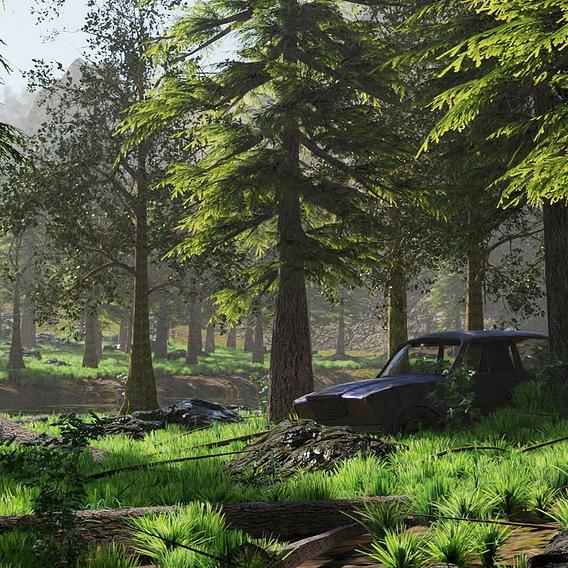 Abandoned Car in Forest Scene | Scene 51
