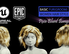 Pixie Blunt Bangs Groom Real-Time Hairstyle 3D asset 2
