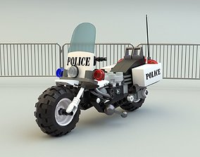 Lego Police Motorcycle 3D asset realtime