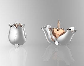3D print model jewelry Lovely Tulip Heart Locket