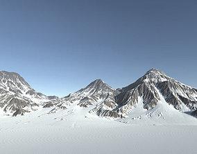 3D asset Snow Mountain - Low Poly