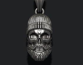 3D printable model Bearded skull pendant with hat