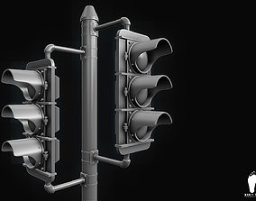 3D Traffic Signal Lights - High Poly