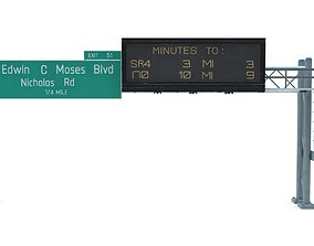 Highway Sign 08 3D asset