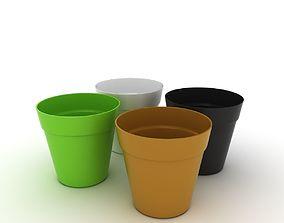 Colourful Flower Pots 3D model