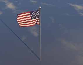 Flag ripple animation 3D model