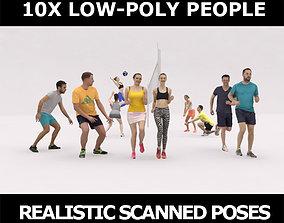 3D asset 10x LOW POLY SPORT SPORTS PEOPLE VOL01 CROWD