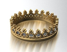 gold 3D print model Crown ring