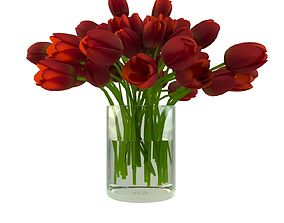 game-ready Red Roses in Glass Vase 3D model
