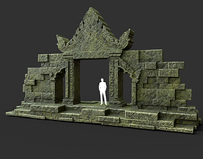 Low poly Mossy Ruin Asia Temple Gate 01 3D asset